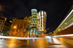 Night view on moder building Dancing House or Fred and Ginger. Nationale-Nederlanden building on the Ran Embankment in Prague,. Prague, Czech Republic - October Stock Image