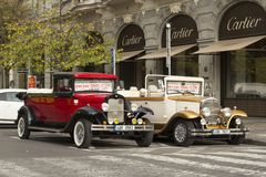 Retro cars in Prague Royalty Free Stock Photography