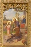 PRAGUE, CZECH REPUBLIC - OCTOBER 12, 2018: The painting of Holy Family in church Bazilika svatého Petra a Pavla na Vyšehrade royalty free stock photography