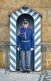 A Prague Castle Guard on duty outside one of the main gateways of the historic Prague Castle, Prague, Czech Republic. Prague, Czech Republic - October 12, 2017 Stock Photography