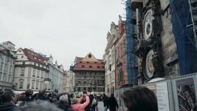 PRAGUE, CZECH REPUBLIC- October 27, 2017, Prague Chimes, A Crowd of People Listening To The Battle of The Clock On The stock video footage