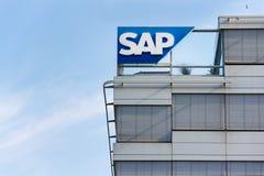 SAP multinational software corporation logo on Czech headquarters building Royalty Free Stock Photos