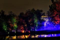 PRAGUE, CZECH REPUBLIC - OCTOBER 15: Signal Festival 2015. Night photos of light installations during Signal Festival 2015 in Prague. Photo of videomapping and Stock Images