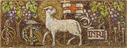 PRAGUE, CZECH REPUBLIC - 2018: The symbolic mosac of Lamb of God in church Bazilika svatého Petra a Pavla na Vyšehrade stock photo