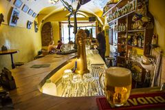 Ujezd Bar, legendary place for alkohol fans in center of Prague. Prague, Czech republic, October 7, 2018: Ujezd Bar, legendary place for alkohol fans in center royalty free stock images