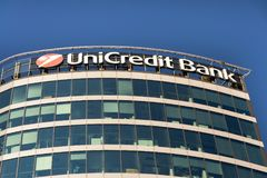 UniCredit Group banking company logo on headquarters building Royalty Free Stock Photo