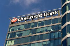 UniCredit Group banking company logo on headquarters building Stock Images