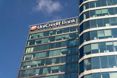 UniCredit Group banking company logo on headquarters building Stock Image