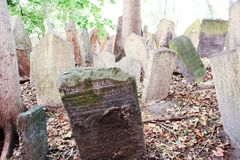 Old Jewish Cemetery. At Prague - Czech Republic - On 07/27/2015 - Old Jewish Cemetery, one of the most important Jewish historical monuments in Prague, Czech Royalty Free Stock Images