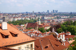 Prague, Czech Republic - old and new buildings. Prague, Czech Republic - Old Town on first plan, modern office buildings on second plan. Great for topics like Royalty Free Stock Photography