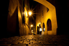 Prague, Czech republic. Old street at night Royalty Free Stock Images