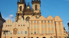 Prague, Czech Republic. The Old Town of Prague, Its historical buildings and the church of Our Lady before Tyn. Late afternoon time stock video footage