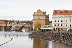 Prague, Czech Republic, Old Town in a retro style winter, cold toning. color images of Europe with space for text. Stock Image