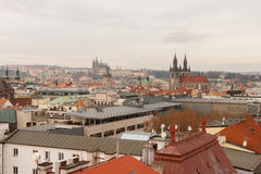 Prague, Czech Republic, Old Town in a retro style winter, cold toning. color images of Europe with space for text. Stock Photography