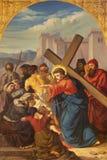 PRAGUE, CZECH REPUBLIC - 2018: The painting Jesus meets the women of Jerusalem in church Bazilika svatého Petra a Pavla royalty free stock photo