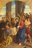 PRAGUE, CZECH REPUBLIC - 2018: The painting Veronica wipes the face of Jesus in church Bazilika svatého Petra a Pavla stock photo