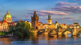 Prague, Czech Republic panorama with historic Charles Bridge and. Vltava river on sunny day stock photography