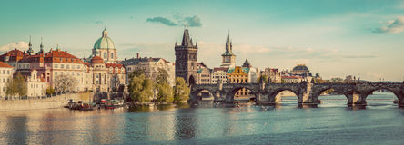 Prague, Czech Republic panorama with historic Charles Bridge and Vltava river. Vintage Stock Photo