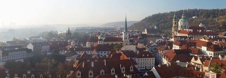 Prague - The panorama of Mala Strana, St. Nicholas, and St. Thomas church stock image