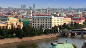 Prague, Czech Republic. Panorama of the old city from the embankment and bridges through the Vltava River stock video