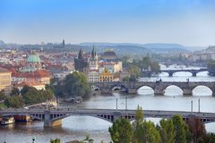 Prague, Czech Republic. Panorama of the old city from the embankment and bridges through the Vltava River Royalty Free Stock Image