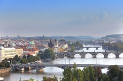 Prague, Czech Republic. Panorama of the old city from the embankment and bridges through the Vltava River Royalty Free Stock Photo