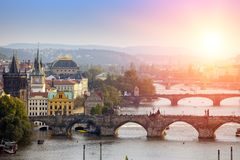 Prague, Czech Republic. Panorama of the old city from the embankment and bridges through the Vltava River Royalty Free Stock Photos