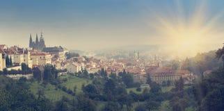 Prague, Czech Republic. Panorama of the old city , retro effect Stock Photos