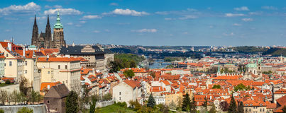 Prague, Czech Republic panorama. St. Vitus Cathedral over old town red roofs. Royalty Free Stock Images