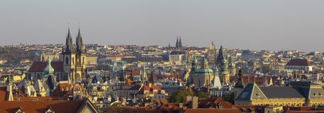 Prague - The panorama of Town and the church of Our Lady before Týn in the evening light royalty free stock photos