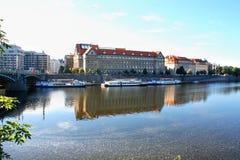 Prague, Czech Republic panorama on turist boats and Vltava river Royalty Free Stock Image