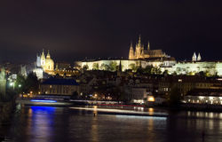 Prague Czech Republic panoramic view Charles Bridge Vltava River Royalty Free Stock Photo
