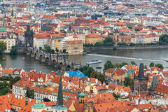 Prague, Czech Republic. Panoramic view of old town and Charles bridge Stock Photo
