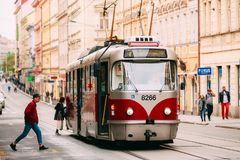 Prague, Czech Republic. Passenger Hurrying On Public Old Retro Tram Of Route Number Seven With Female Woman Driver Stock Photo