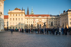 PRAGUE, CZECH REPUBLIC - 2.01.2017: People line to Prague Castle on square in Prague Royalty Free Stock Photo