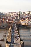 PRAGUE, CZECH REPUBLIC. Photo of View of the Lesser Town with the Old Town Bridge Tower. Stock Photo