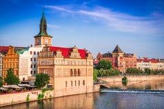Prague, Czech Republic. Vltava river and old bohemian architecture in Europe stock photo
