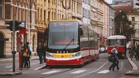 Prague, Czech Republic. Public Modern Tram Number 9 Moving On Holeckova Street. Prague, Czech Republic - September 23, 2017: Public Modern Tram Number 9 Moving stock footage