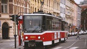 Prague, Czech Republic. Public Old Retro Vintage Tram Number 15 Moving On Holeckova Street. Prague, Czech Republic - September 23, 2017: Public Old Retro Vintage stock video