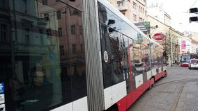 Prague, Czech Republic. Red and white trams in the streets of city center. Morning time stock footage