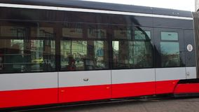 Prague, Czech Republic. Red and white trams in the streets of city center. Morning time stock video footage
