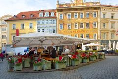 Prague, Czech Republic, 2017 10 26: restaurant and Hotel u Princ. E in the center of Prague`s old town - tables on the street Royalty Free Stock Image