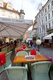 Prague, Czech Republic, 2017 10 26: restaurant and Hotel u Princ. E in the center of Prague`s old town - tables on the street Stock Photos