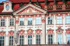 National Gallery of Prague. At Prague, Czech Republic - On 07/23/2015 - rococo  facade of Kinsk� Palace,  In Old Town Square, wich houses the National Gallery Stock Photo
