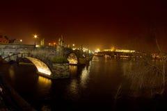 Prague, Czech Republic - the Saint Charles bridge by night royalty free stock photo