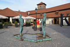 PRAGUE, CZECH REPUBLIC. Sculptural composition Men, Pissing on Czechia Map. PRAGUE, CZECH REPUBLIC - MAY 26, 2014: Sculptural composition Piss – Brick-works of Stock Photo