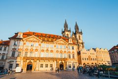 Old Town square in Prague in a beautiful autumn day, Czech Republic stock images
