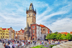 PRAGUE,CZECH REPUBLIC- SEPTEMBER 13, 2015:Astronomical Clock(Staromestske Namesti)on Historic Square In The Old Town Quarter Of P Royalty Free Stock Images
