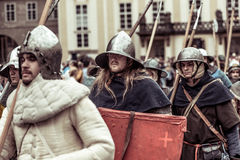 PRAGUE, CZECH REPUBLIC - SEPTEMBER 04, 2016: Armored knights lea Royalty Free Stock Photography