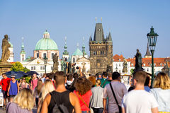 PRAGUE, CZECH REPUBLIC - SEPTEMBER 07, 2016: Bustling crowd at C Stock Images